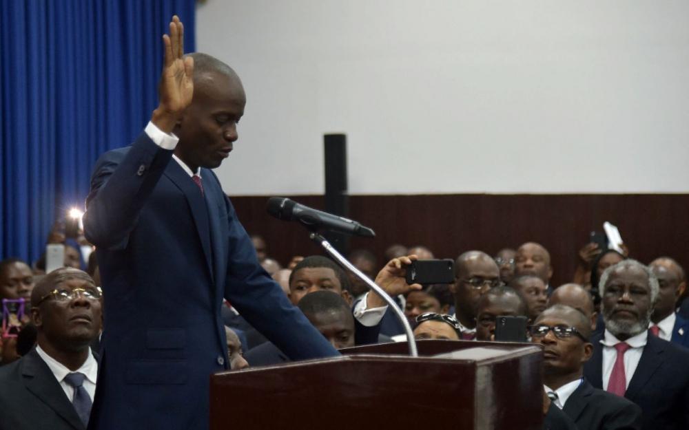 Le président haïtien, Jovenel Moïse, prête serment au Parlement le 7 février 2017 à Port-au-Prince (AFP/HECTOR RETAMAL)