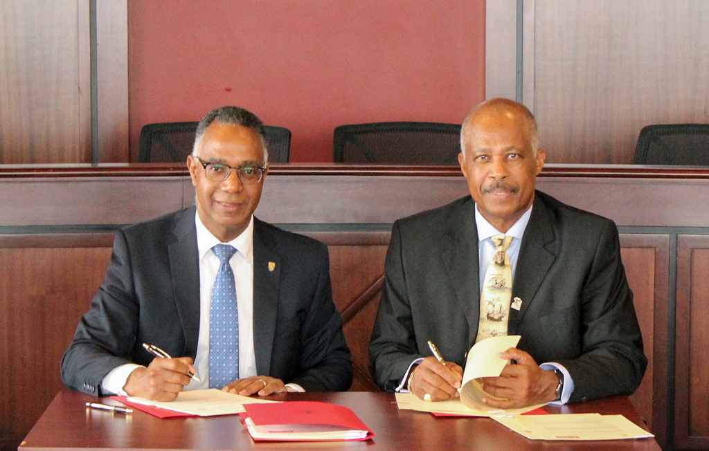 Gervan Fearon, President and Vice-Chancellor of Brock University, and Sir Hilary Beckles, Vice-Chancellor from the University of the West Indies, signed three agreements alongside dignitaries from both institutions during a ceremony held on Brock University's main campus Friday, April 5.