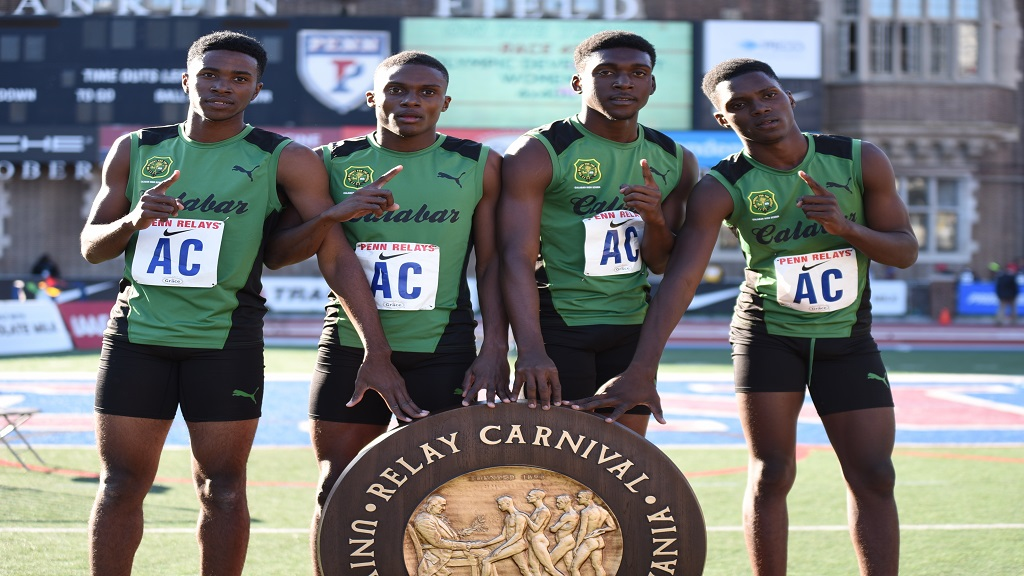 Members of Calabar High's 4x400m relay team following their championship race victory at the Penn Relays in Philadelphia on Saturday, April 27, 2019.