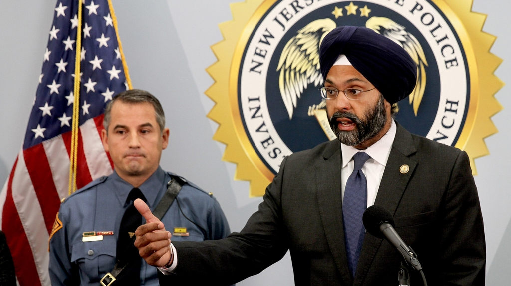 New Jersey Attorney General Gurbir Grewal speaking to the media