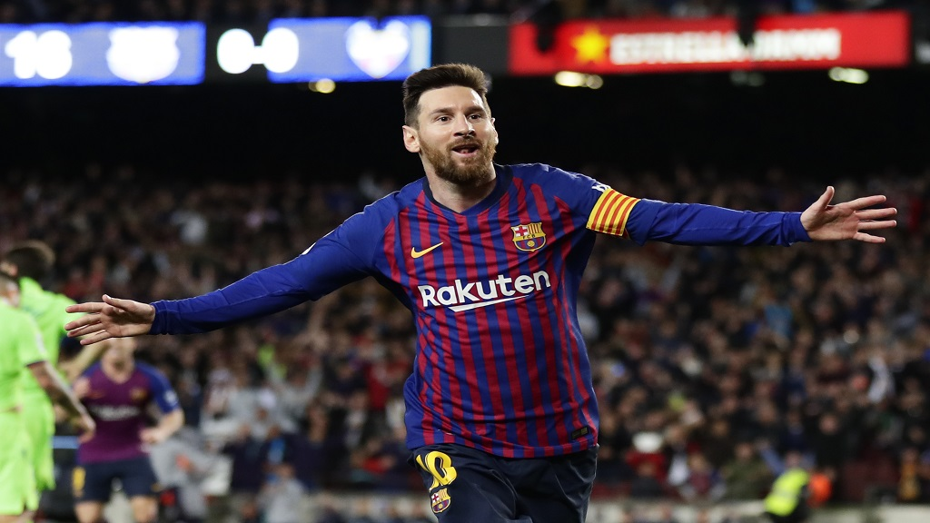 Barcelona forward Lionel Messi celebrates after scoring during a Spanish La Liga football match against Levante at the Camp Nou stadium in Barcelona, Spain, Saturday, April 27, 2019.