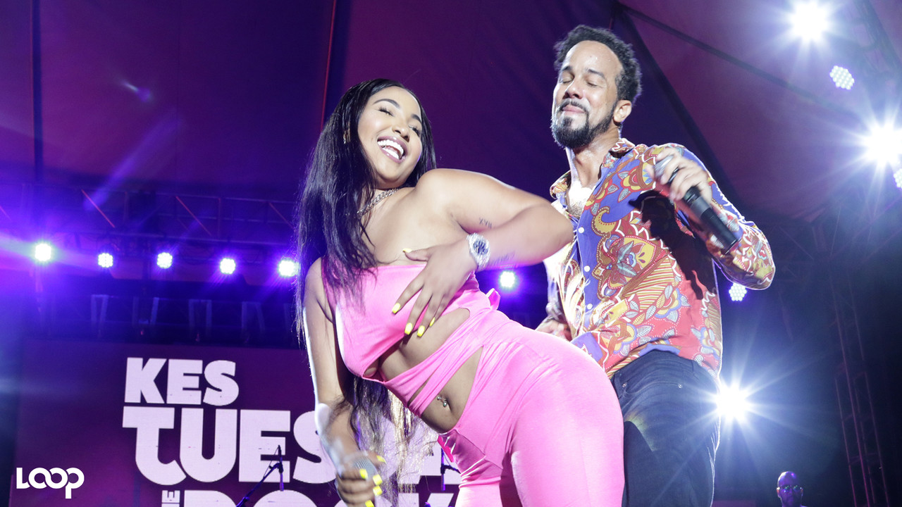 Kees Dieffenthaller of  Kes the Band with dancehall artiste Shenseea on stage at Tuesday on the Rocks. (PHOTOS: Ramon Lindsay)