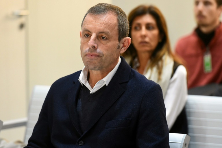 L'ex-président du FC Barcelone Sandro Rosell lors de son procès pour blanchiment d'argent, à Madrid, le 25 février 2019.