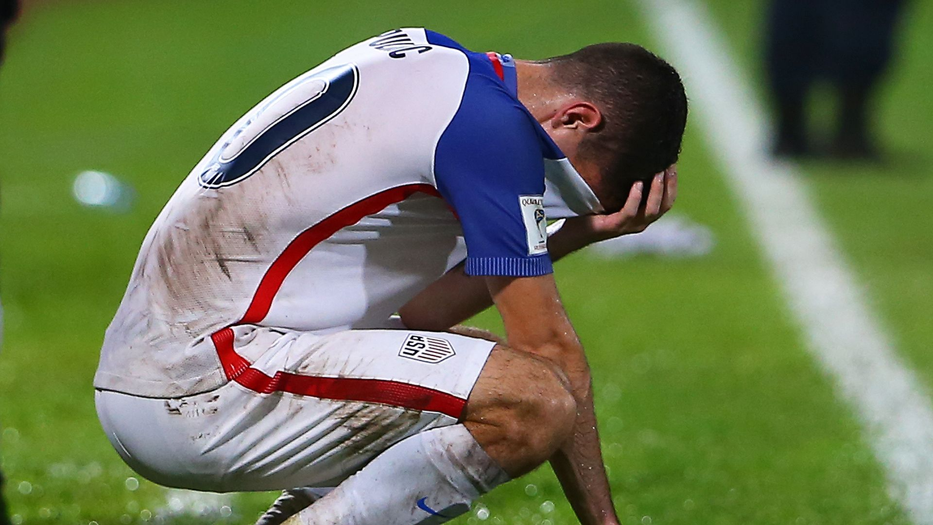 US footballer Christian Pulisic sheds tears after losing a World Cup 2018 qualifier against T&T.