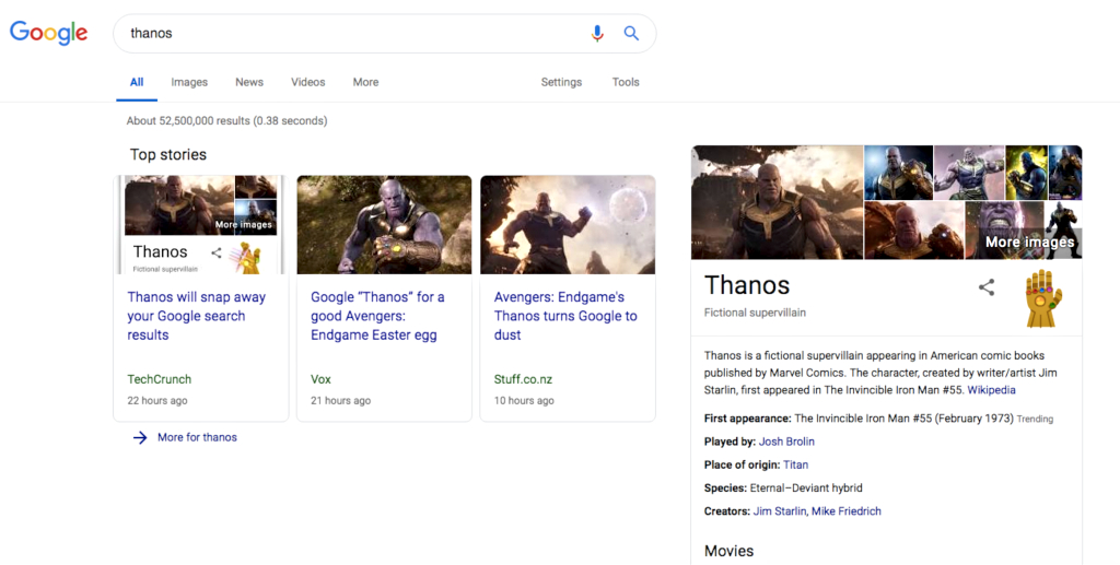Google search 'Thanos'