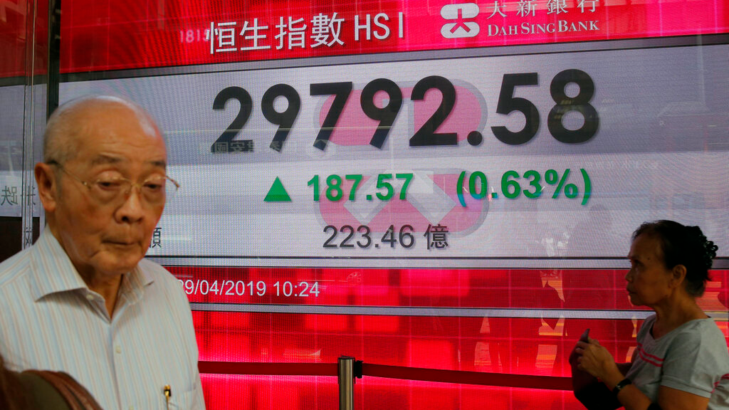 People walk past an electronic board showing Hong Kong share index outside a bank in Hong Kong, Monday, April 29, 2019. Asian stock markets were mixed Monday as investors looked ahead to U.S.-Chinese trade talks and the Federal Reserve's update on its U.S. interest rate outlook. (AP Photo/Kin Cheung)