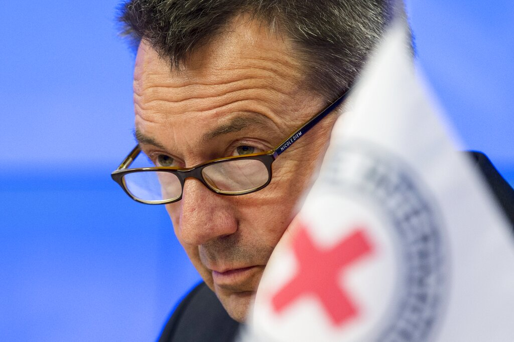 In this Feb. 24, 2015 file photo, the International Committee of the Red Cross President Peter Maurer speaks during a news conference in Moscow, Russia.  (AP Photo/Pavel Golovkin, File)