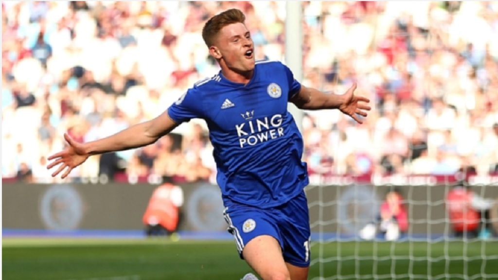 Harvey Barnes celebrates against West Ham.