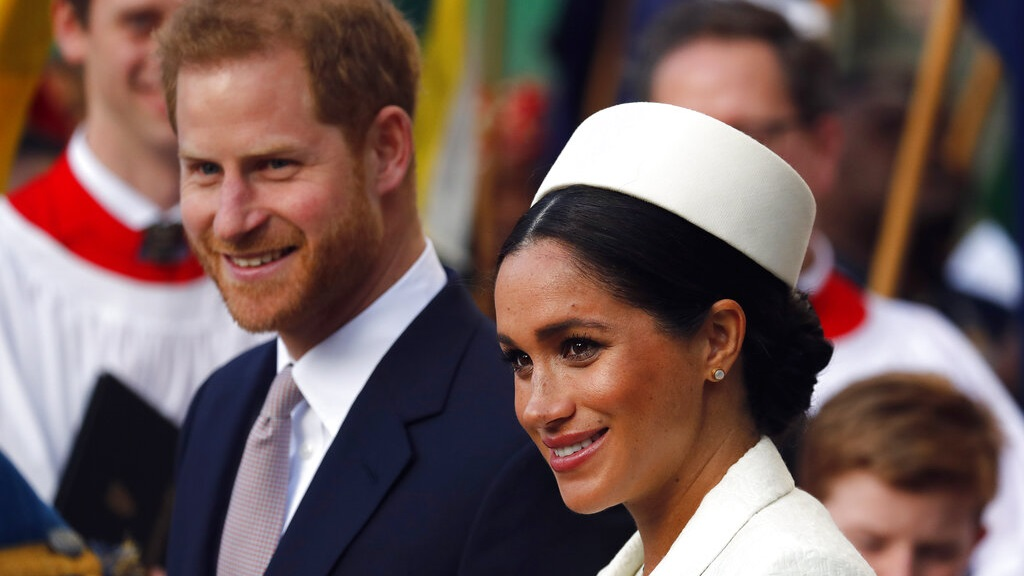 In this Monday, March 11, 2019 file photo, Britain's Prince Harry and Meghan, the Duchess of Sussex leave after the Commonwealth Service at Westminster Abbey in London. (AP Photo/Frank Augstein, file)