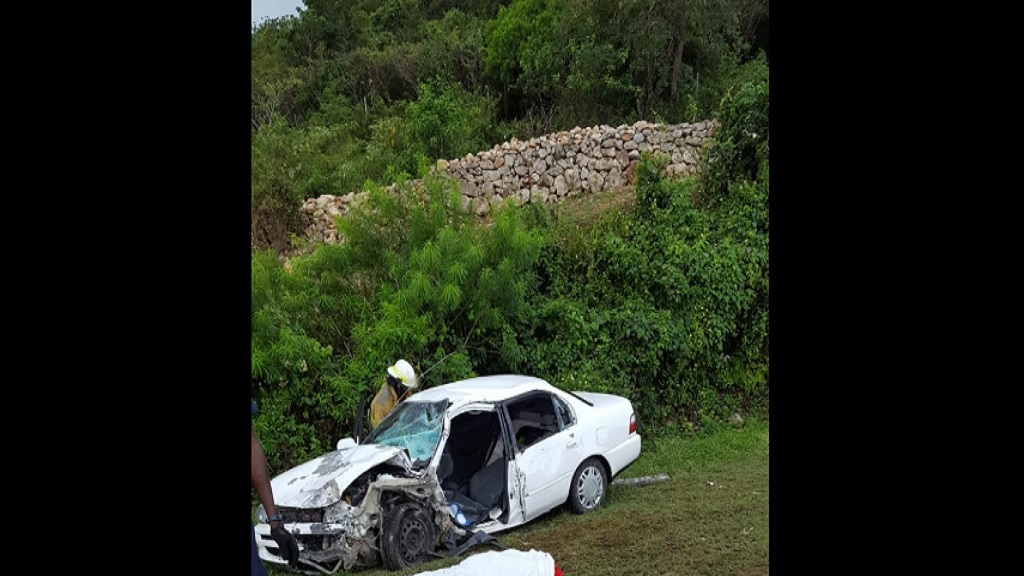The ill-fated motor vehicle in which taxi driver, Linval Clarke, was traveling as a passenger along the Spring Hill main road in Trelawny.