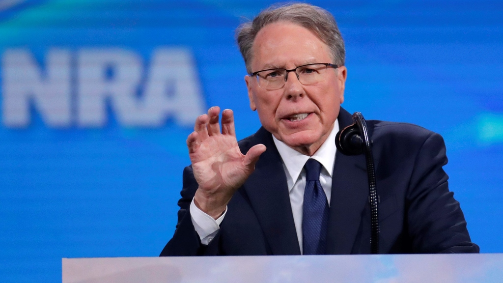 Nation Rifle Association Executive Vice President Wayne LaPierre speaks at the National Rifle Association Institute for Legislative Action Leadership Forum in Lucas Oil Stadium in Indianapolis, Friday, April 26, 2019. (AP Photo/Michael Conroy)