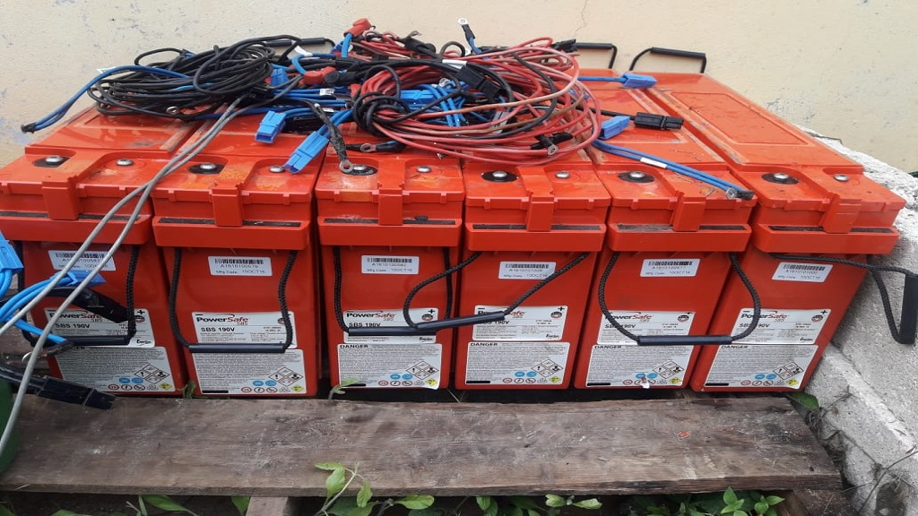 Some of the 40 stolen Flow batteries which were recovered in St James on Wednesday.