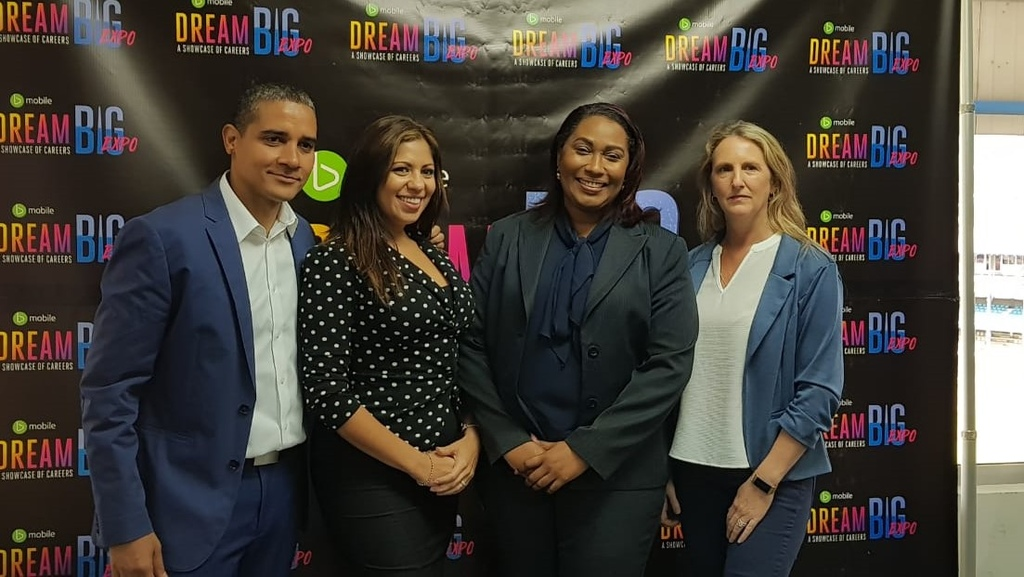 From left: Simon Baptiste, CEO Question Mark Entertainment, Nichol Narwani Daniel, Director Dream Big Foundation, Marsha Caballero, VP Corporate Communications, TSTT and Carolyn Pasea Pogson, MD, Question Mark Entertainment.