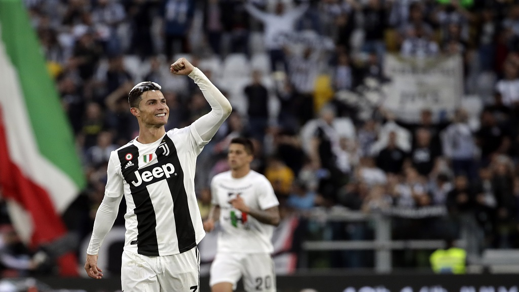 Juventus' Cristiano Ronaldo celebrates at the end of a Serie A football match against AC Fiorentina, at the Allianz stadium in Turin, Italy, Saturday, April 20, 2019. Juventus clinched a record-extending eighth successive Serie A title, with five matches to spare.