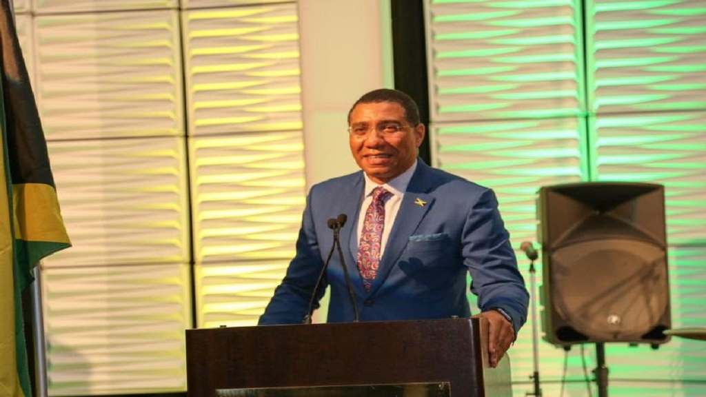 Prime Minister Andrew Holness addresses guests at a Jamaica Chamber of Commerce of Atlanta, Georgia banquet. (PHOTOS: OPM)