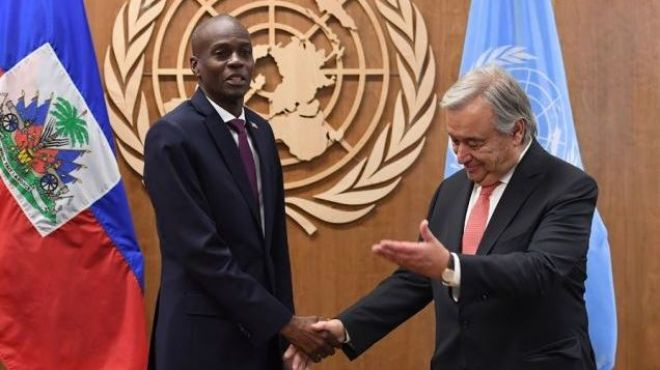 Le président d'Haïti Jovenel Moïse, avec Antonio Guterres, le sécretaire général des Nations Unies Crédit Photo : AFP