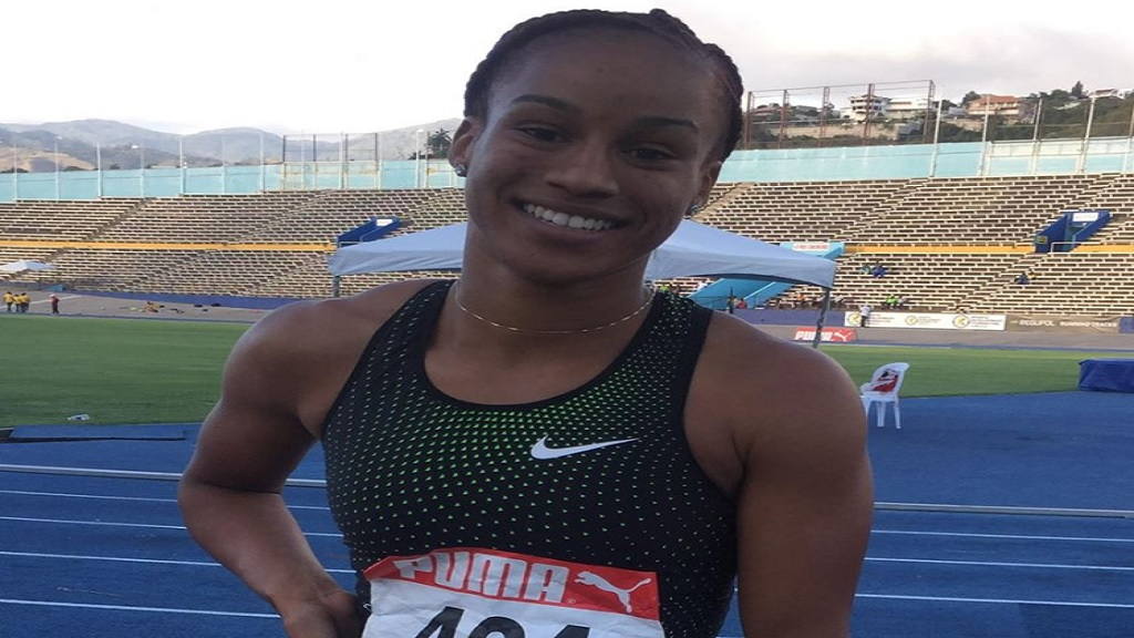 Double World sprint champion Briana Williams takes time out for a photo following her victory in the Girls' Under-20 200m final at the Carifta Games Trials on Sunday, April 7, 2019 at the National Stadium.