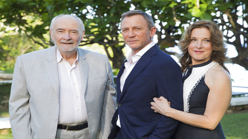 Producers Michael G Wilson, left, and Barbara Broccoli, right, pose for photographers with actor Daniel Craig during the photo call of the latest installment of the James Bond film franchise, currently known as 'Bond 25' in St Mary. (AP Photo)