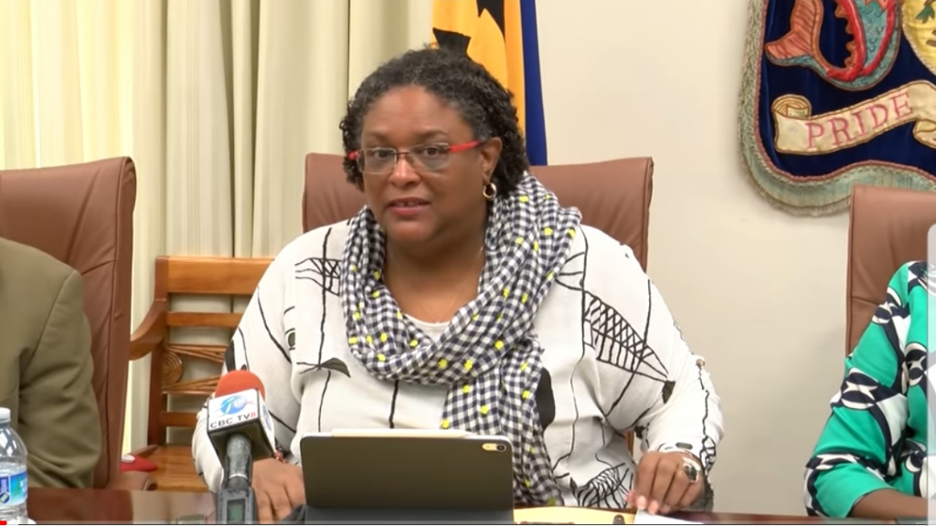 Prime Minister Mia Mottley at today's meeting, Wednesday,  April 17, at government headquarters in Bay Street.
