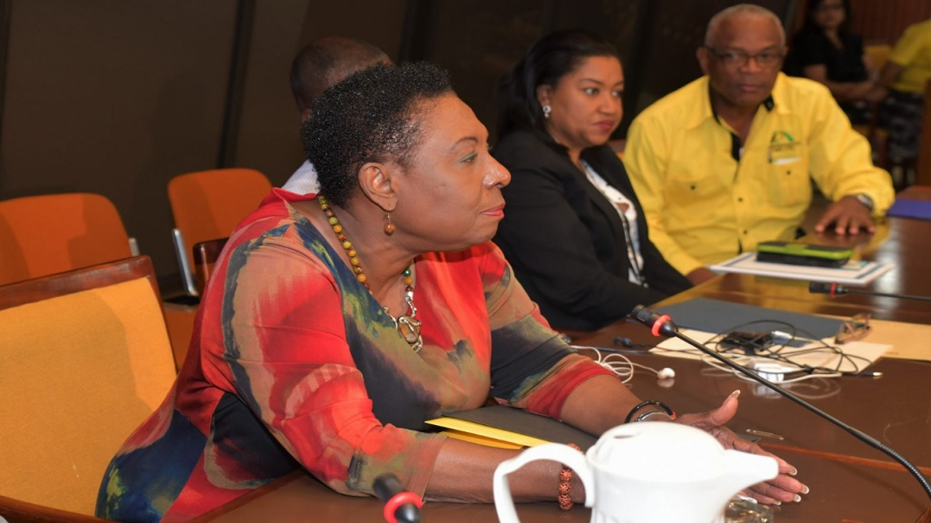Sport Minister Olivia Grange (left), announces new requirements for national sports federations to access funding during a meeting of national sports federations/associations at the Jamaica Conference Centre on Wednesday, 24 April 2019. Looking on are Sandra Brown, Citizenship Manager of PICA,  and Major Desmon Brown,  General Manager of Independence Park Limited.