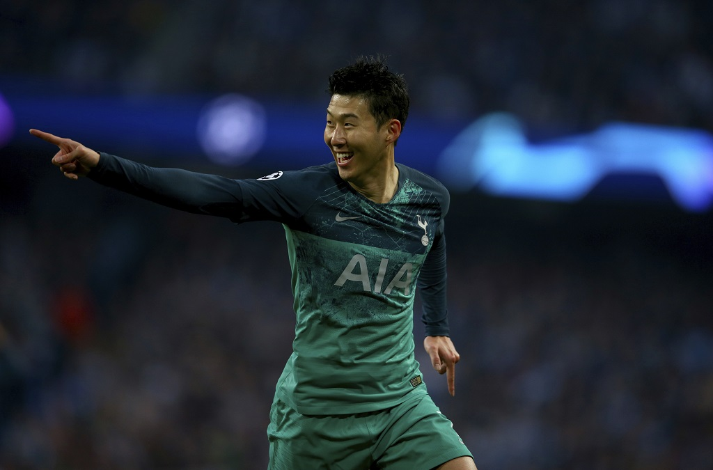 Tottenham's Son Heung-Min celebrates scoring during the Champions League quarterfinal, second leg, football match against Manchester City at the Etihad Stadium in Manchester, England, Wednesday, April 17, 2019.