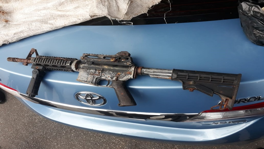 A photo of the high-powered rifle found in Cambridge, St James on Wednesday.