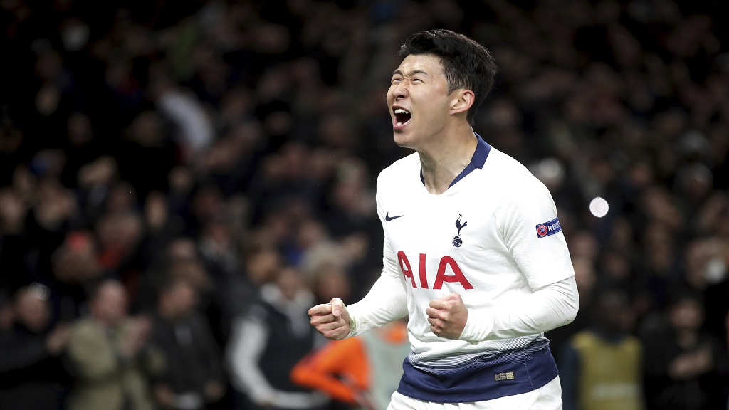 Tottenham Hotspur's Son Heung-min celebrates scoring the only goals of the game during the Champions League quarter final, first leg match against Manchester City at Tottenham Hotspur Stadium, London, Tuesday April 9, 2019.