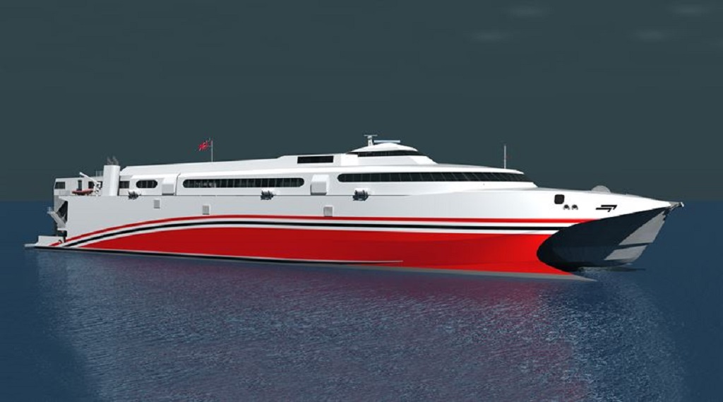 The new 100 metres long catamaran ferry, being built by Incat Tasmania for the Trinidad & Tobago Government, will feature the recently introduced Wärtsilä WXJ waterjets. Photo via Wartsilla/Incat.