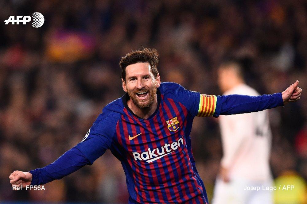 L'attaquant du Barça Lionel Messi auteur d'un doublé face à Manchester United en quarts retour de C1 au Camp Nou, le 16 avril 2019 L'attaquant du Barça Lionel Messi auteur d'un doublé face à Manchester United en quarts retour de C1 au Camp Nou, le 16 avril 2019 AFP