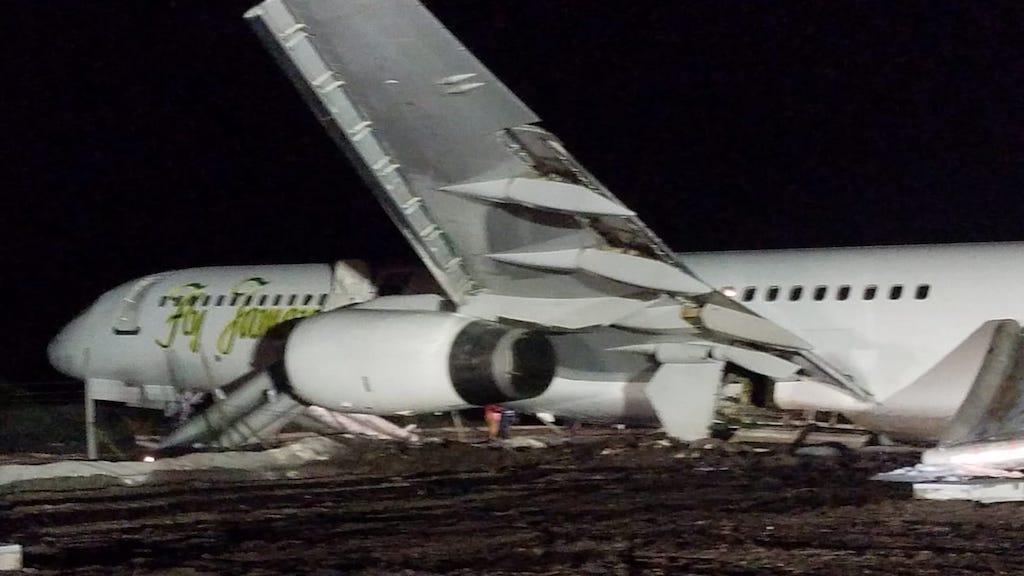 The damaged Fly Jamaica plane in Guyana last November.