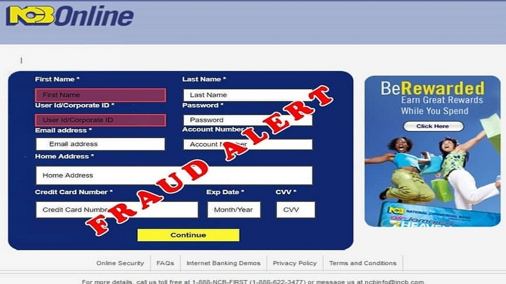 The fake webpage used by fraudsters in a new scam targeting NCB customers.
