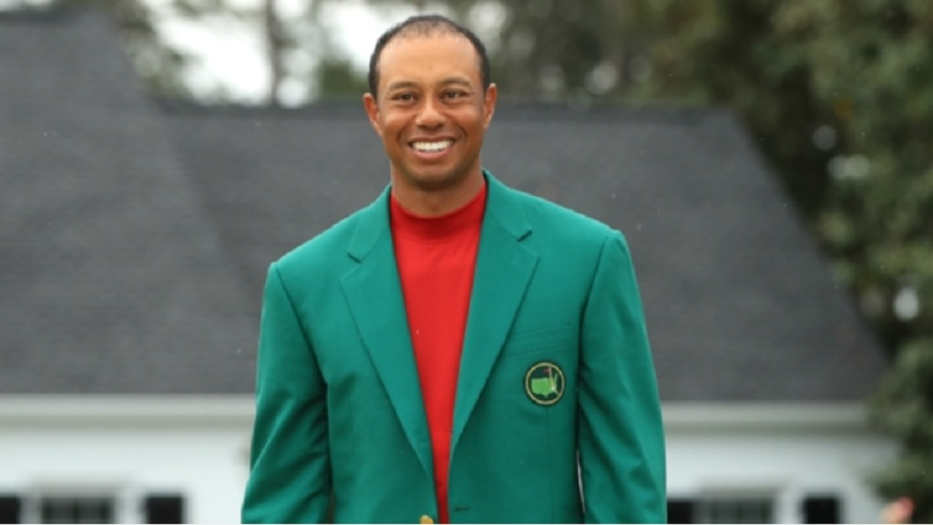 Tiger Woods in his new green jacket.
