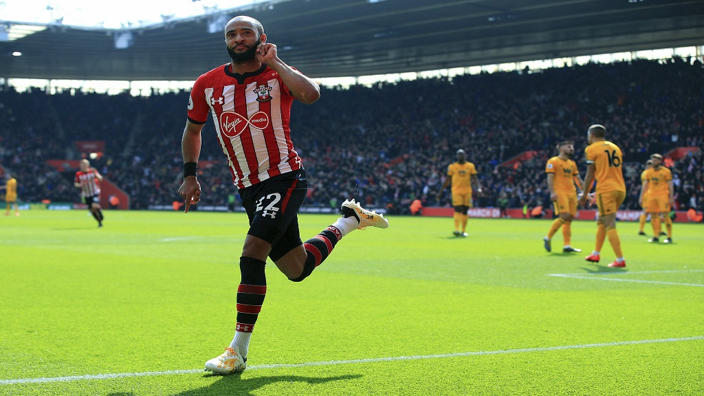 Southampton's Nathan Redmond celebrates scoring his side's second goal of the game, during the English Premier League football match against Wolverhampton Wanderers, at St Mary's Stadium, in Southampton, England, Saturday April 13, 2019.