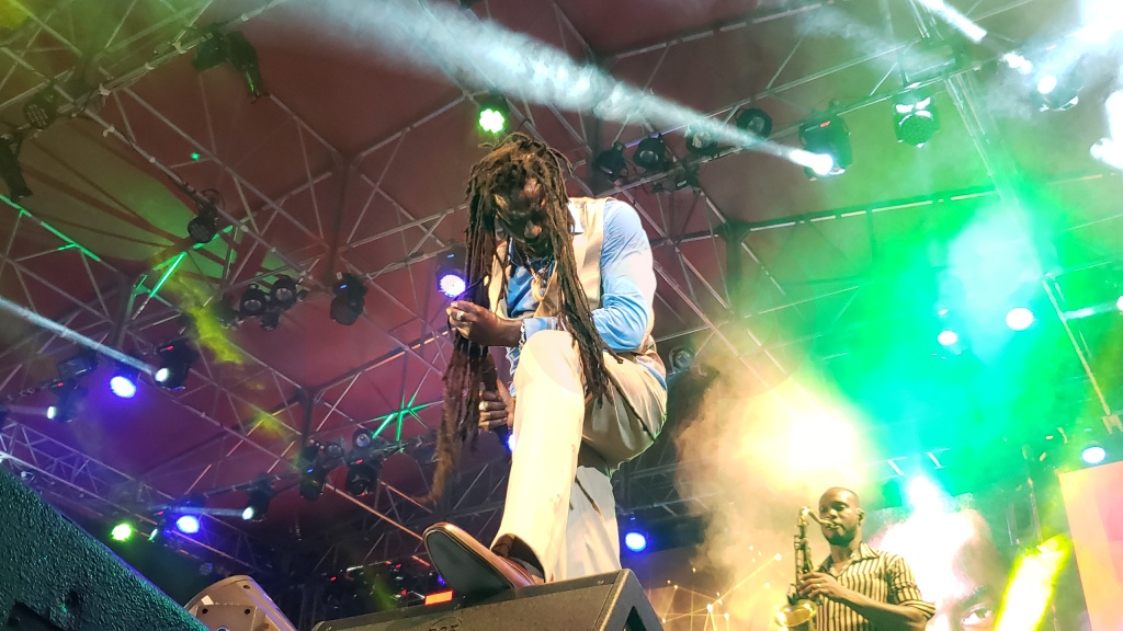 Buju Banton performing at Kensington Oval in Barbados.