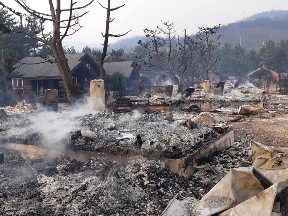 1 mort et 35 blessés suite à de gigantesques feux de foret ayant ravagé Goseong, zone montagneuse située dans le Nord-est de la Corée du sud./Photo:알리