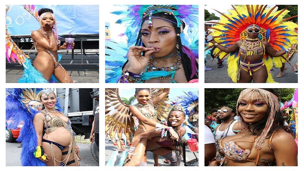 Combination of photos shot by Loop News photographer Llewellyn Wynter at Sunday's carnival Road March.
