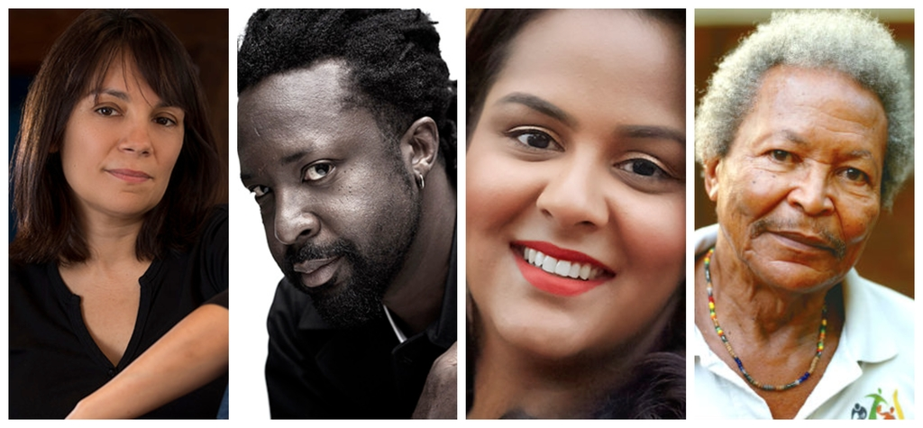 (l-r) Claire Adam, Marlon James, Krystal Sital and Earl Lovelace