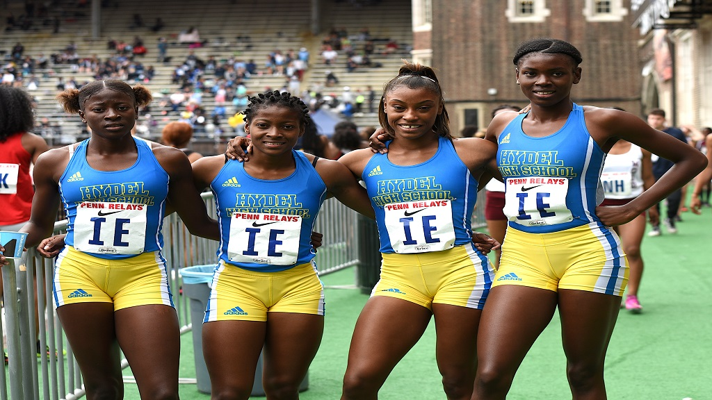 Members of Hydel High 4x400m relay team pose after posting the fastest qualifying time in the heats at the Penn Relays Carnival in  Philadelphia on Thursday, April 25, 2019.