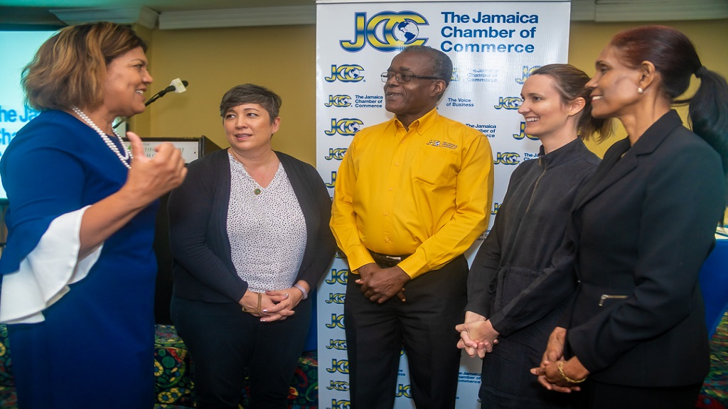 L-R: Lilyclaire Bellamy, Executive Director, Jamaica Intellectual Property Office; Sarah Hsia, Attorney-at-Law, Rockstone Legal; Trevor Fearon, CEO, Jamaica Chamber of Commerce (JCC); Melanie Subratie, Chair, JCC Legislation, Regulation & Process Improvement Committee (Legs & Regs) and Marlene Porter, Manager Agribusiness, Jamaica Promotions Cooperation (JAMPRO).