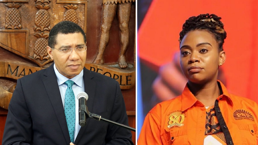 Prime Minister Andrew Holness and People's National Party Youth Organisation (PNPYO) President, Krystal Tomlinson.
