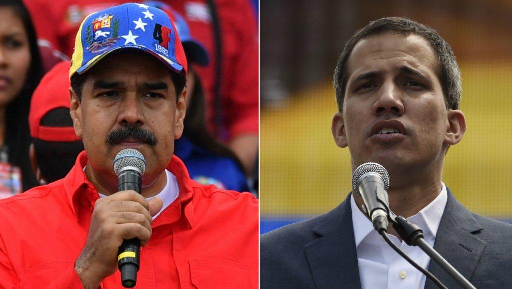 Juan Barreto, Yuri Cortez, AFP | Combination picture shows Venezuelan President Nicolas Maduro (L) and opposition leader Juan Guaido on Feb. 2, 2019.