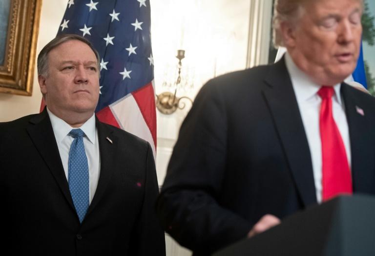 Le président des Etats-Unis Donald Trump lors d'un discours en présence du chef de la diplomatie américaine Mike Pompeo, le 25 mars 2019 à la Maison Blanche.
