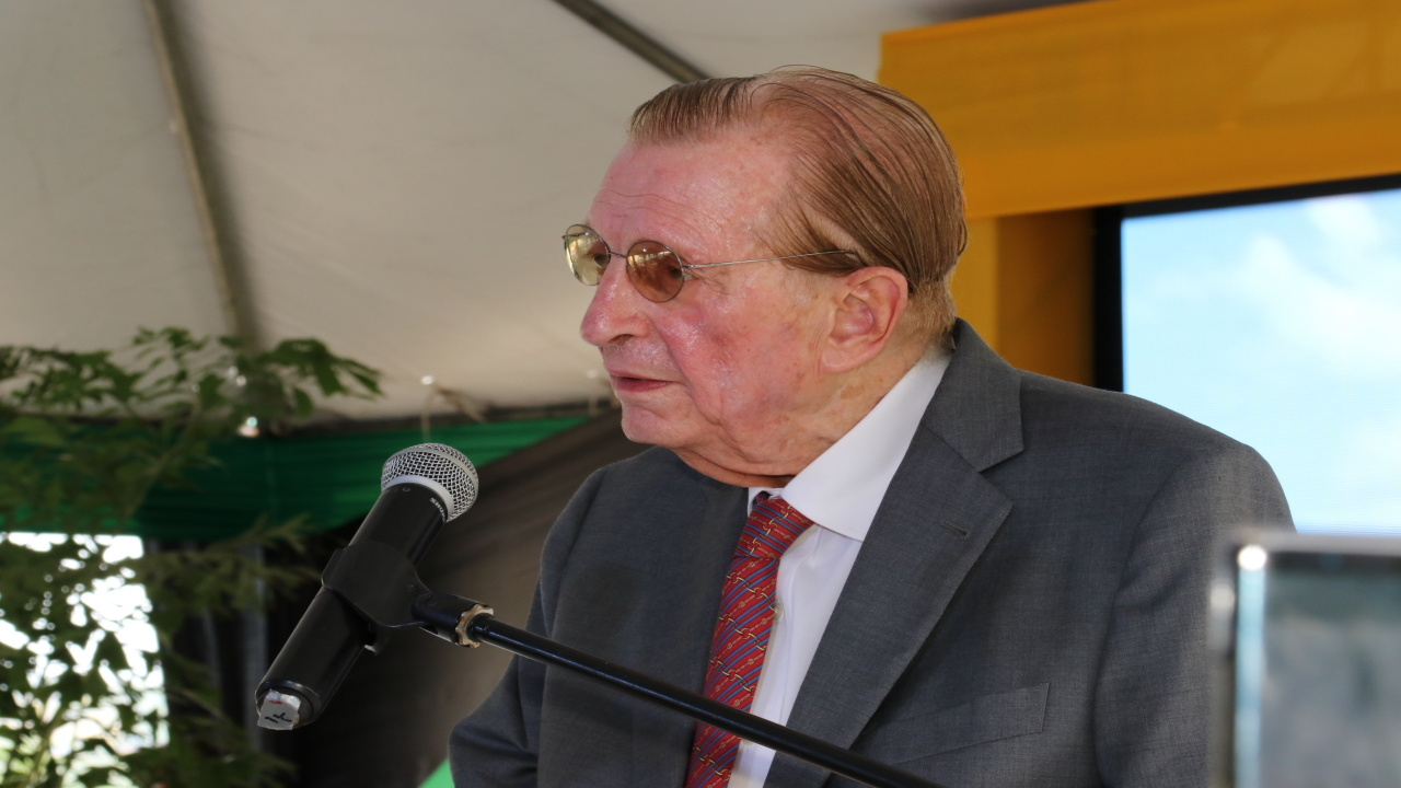 In this  June 2018 file photo, former Prime Minister of Jamaica, Edward Seaga addresses the audience at the renaming ceremony of the North South Highway.