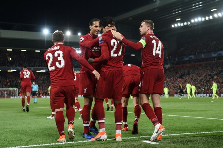 Le bonheur des joueurs de Liverpool après le 4e but contre Barcelone, celui de la qualification de la finale de la Ligue des champions, le 7 mai 2019 à Anfield