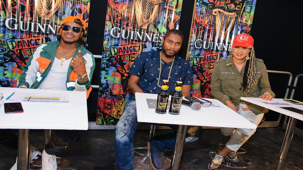(from left) GSOG resident judges Bishop Escobar and Notnice, and guest judge DJ Sunshine looking fashionable.