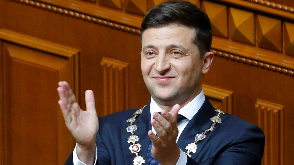 Ukrainian new President Volodymyr Zelenskiy gestures during his inauguration ceremony in Kiev, Ukraine, Monday, May 20, 2019.  (AP Photo/Efrem Lukatsky)