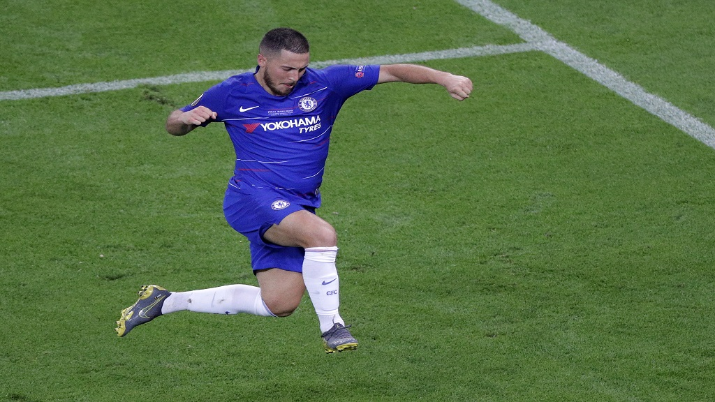 Chelsea's Eden Hazard celebrates after scoring his team's fourth goal during the Europa League Final against Arsenal at the Olympic stadium in Baku, Azerbaijan, Wednesday, May 29, 2019.