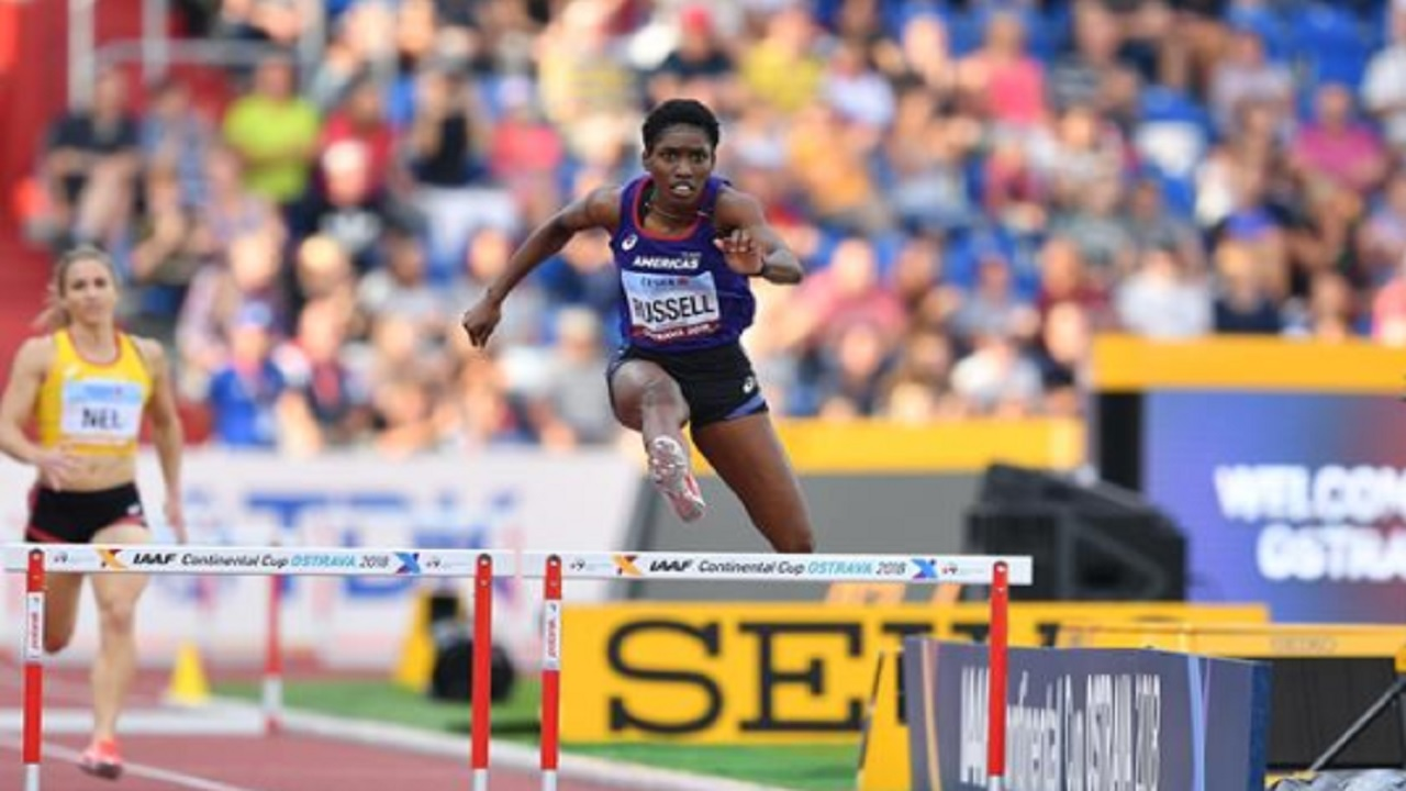 Jamaica's Janieve Russell, of Team Americas, wins the women's 400m hurdles on the second and final day of  the 2018 IAAF Continental Cup in Ostrava, Czech Republic on Sunday, September 9, 2018.