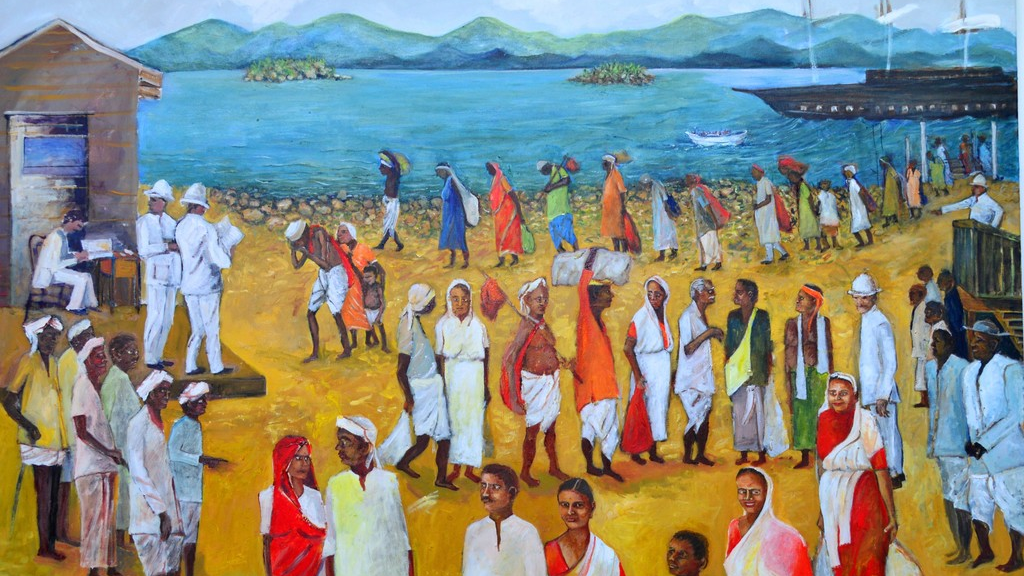 Arrival, the painting by Shastri Maharaj which led to a full exhibition showcasing Indo-Trinidadian history and culture at the Divali Nagar Art Gallery.