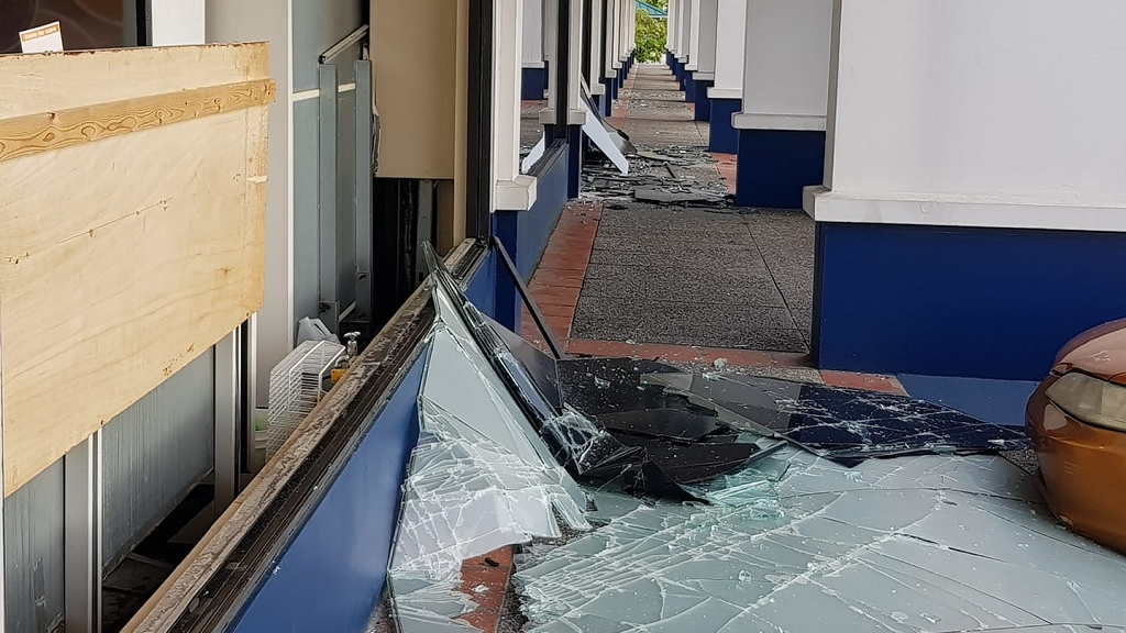 Photo: Massy Stores Westmoorings experienced some minor damages during a 6.9 earthquake on August 21 which caused glass windows on the building's exterior to shatter. However, the company said the branch was open again as usual on Thursday as there was no structural damage to the building, which was given the all-clear.